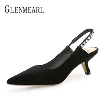 Women Pumps Black Shoes High Heels Rhinestone Pointed Toe Woman Wedding Shoes Slip On Thin Heels Spring Shoes Party Plus Size DE