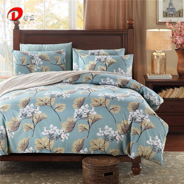Luxury Satin Bed Linen Egyptian Cotton Bedding Set King Queen Size High Quality Ginkgo
