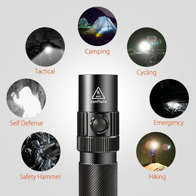 Best Pocket Flashlight USB Rechargeable 7 Light Modes, IP68 Waterproof, Cree XPL V6, 18650 Tactical Flashlight