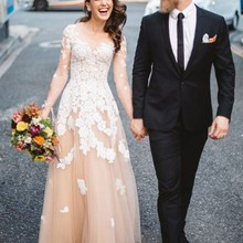 Champagne Tulle Ivory Lace Country Wedding Dress with Long Sleeves Vintage  Bohemian Wedding Gowns Beach Reception ea5e37b0be7a
