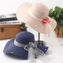 57a04222989ba HT1687 2018 Novo Chapéu de Verão Coréia Estilo Flor Malha Mulheres Sol  Compactáveis chapéus Sólida Disquete