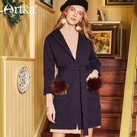 ARTKA Spring&Summer New Women's Simple Dark Blue Hooded Long Outwear Cardigan Sweater with Sash JW17044