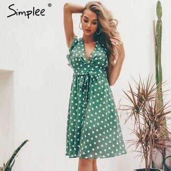 42f194d288438 Simplee Seksi V boyun polka dot yeşil yaz elbisesi kadın 2019 Rahat fırfır  midi elbise Zarif tatil plaj kadın vestidos festa