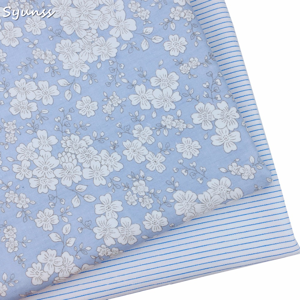 100% Baumwoll-twill Tuch Elegante Blaue Blumen Streifen Stoff Für Diy Kid Krippe Bettwäsche Kleid Kleidung Kissen Handarbeit Gewebe Tecidos