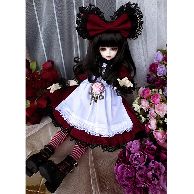 Doll Clothes Include Dress for 1/4 BJD SD Dolls,Fashion Doll Accessory Clothing Set(1 Set=1= Dress+1 Headdress+ BJD Stockings) 1 3rd 65cm bjd nude doll bazael bjd sd doll boy include face up not include clothes wig shoes and other access