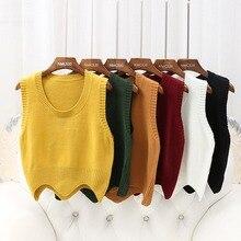 Модный женский свитер, однотонный вязаный жилет с круглым вырезом без рукавов, короткий пуловер, Осенний теплый пуловер с волнистым краем