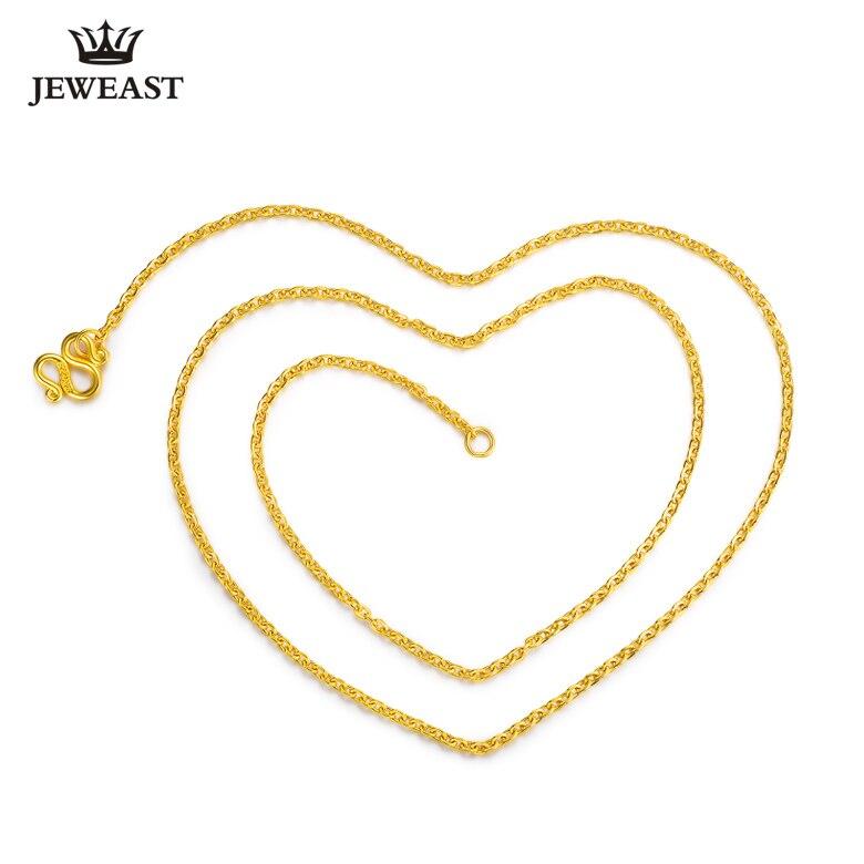 HMSS 24K Reinem Gold Halskette Kreuz Kette O Form Wort Allgleiches Weibliche Worte Schlüsselbein Feine Schmuck Solid Gold gehobenen Halsketten-in Halsketten aus Schmuck und Accessoires bei  Gruppe 3