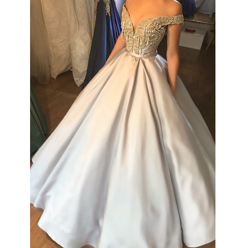 Gorgeous Ball Gown Prom Dress Off The Shoulder Beadings Satin Evening Party Gown Vestidos de Fiesta