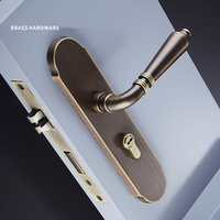 1 סט רטרו נורדי אולטרה שקט פליז ידית דלת מנעול עם מפתח עבור פנים חדר סלון/חדר שינה עבור 35-50mm דלת JF1941