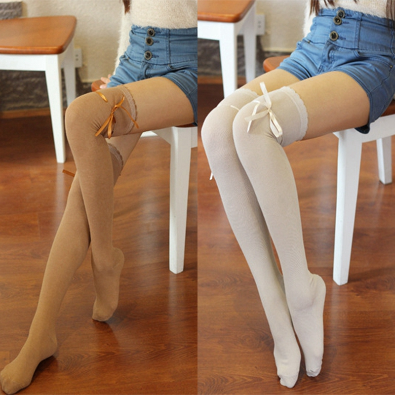 Vajza Lace Bow Kawaii Lolita Pantyhose Këmisha të larta për Gra Womenorapë për Borape të grave Corap pambuku mbi çorapin e gjurit 10 Ngjyrat me shumicë të lirë