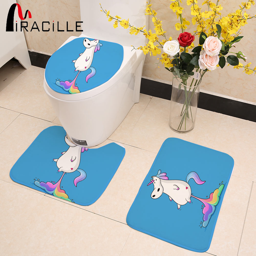Miracille Cute Farting Unicorn Digital Printed 3 Pieces Toilet Seat Cover Mat Sets For Bathroom U Shape Soft Mats ...