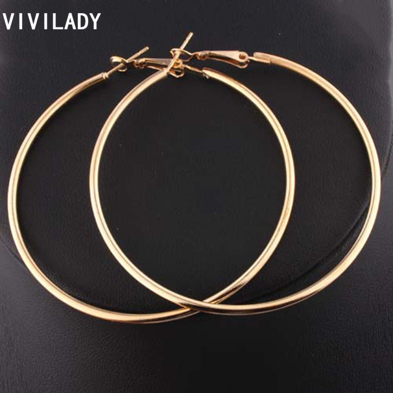 Vivilady Stylish Hoop Earrings Women Nickel Free Gold Color Loop Celebrity Brand Office Party Gifts Bijoux Fashion Jewelry
