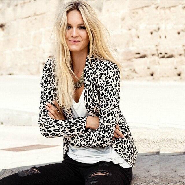2017 Весна Осень Длинный Рукав Куртки Женщин Сексуальный Леопарда Печатных Тонкий отложным Воротником Пальто Краткости Верхняя Одежда W1049C