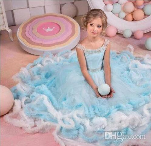 Ruffle Princess   Girls   Pageant   Dresses   White And Blue Beads Lace Up Back   Flower     Girl     Dress   Beautiful Ball Gown   Girls     Dresses