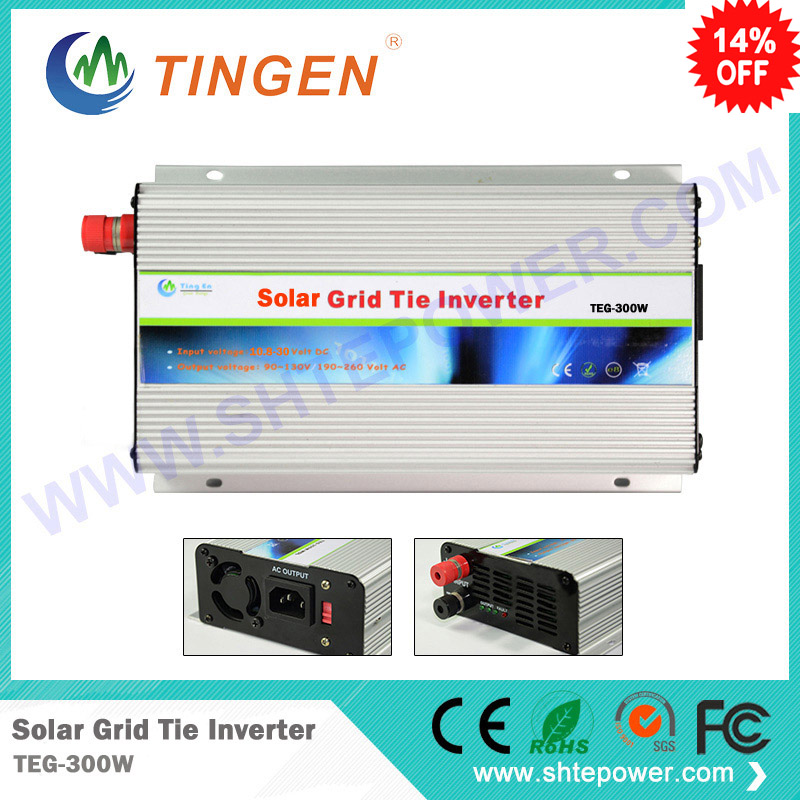 on grid micro solar inverter 300w dc 10.8-28v to ac 90-140v or 190-260v 300w solar grid on tie inverter dc 10 8 30v input to two voltage ac output 90 130v 190 260v choice