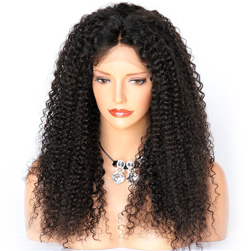 WoWEbony 100% Human Hair Kinky Curly Lace Front Wigs Indian Remy Hair Lace Wig With Baby Hair Middle Part [LFW08]