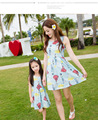 2016 Mother Daughter Dresses Outfits Summer Fashion Mom Kids Sleeveless Floral Dress Mommy Me Costume