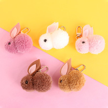 Cute Cartoon Plush Rabbit Key chainWomen Mini Candy Colored Keychains plush Animal Toys For Childrens Birthday Gift