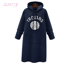 APOENGE 2017 New Autumn Sweatershirt Dress Winter Thicker Hoodies Dresses Sweat shirt Long Female Pullover With Letter LZ536