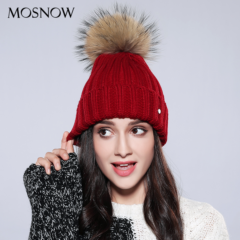 MOSNOW Women Hat Female Wool Vogue Raccoon Fur Pompom Knitted   Beanie   New 2018 Winter Cap Women's Hats   Skullies     Beanies   #AMZ751
