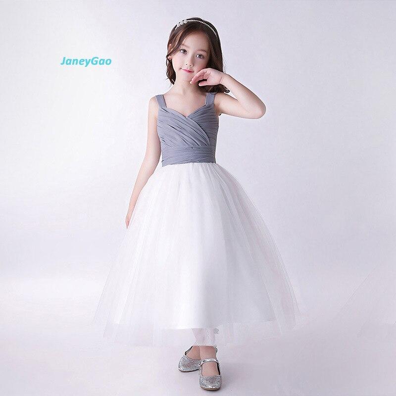 JaneyGao 2018 Spring New   Flower     Girl     Dresses   Sleeveless Ball Gown Elegant   Girls   Formal   Dress