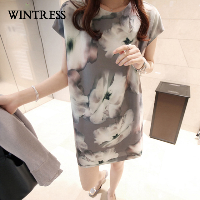 9502f01374a WINTRESS Large Size Casual Chiffon Women T-Shirt Dress Lnk And Wash Floral  Short Sleeve O-Neck Pockets Summer Straight Dress