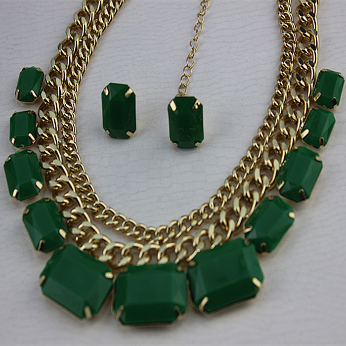 Green popular romantic girl gifts wholesale women jewelry jewelry gold-plated necklace! Free shipping!