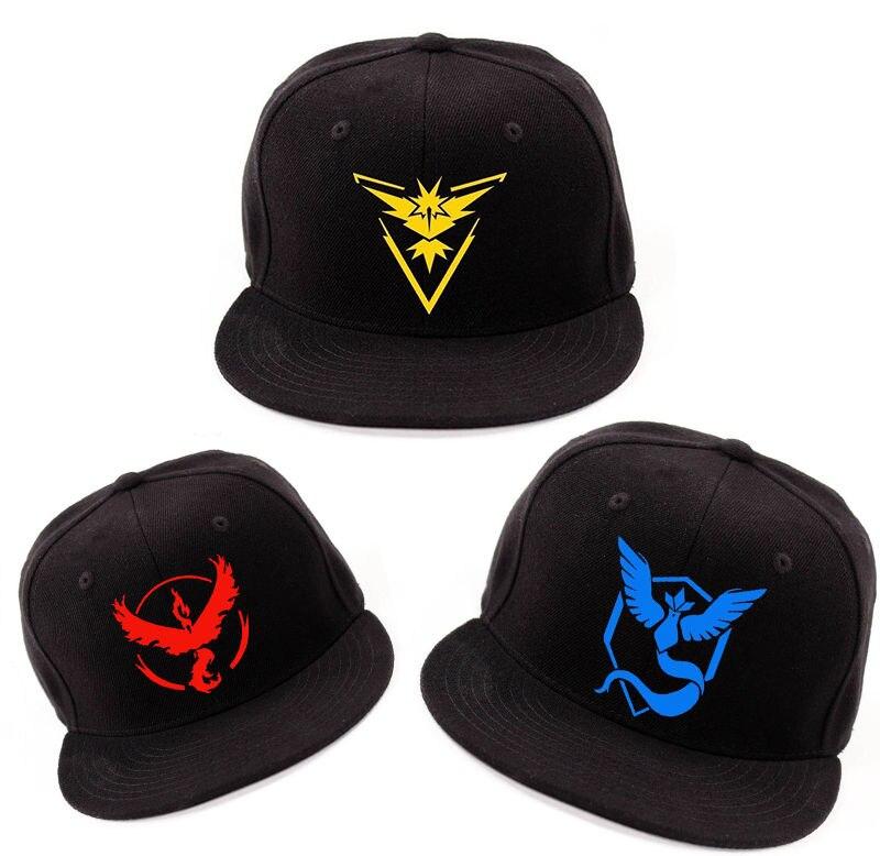 Hot Cartoon Game Pokemon Go Team Cosplay Red Valor Yellow Instinct Blue Mystic Hat Baseball Cap