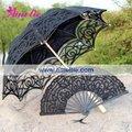 Belga Umbrella Nupcial E ventilador Black Lace Parasol Set Wedding
