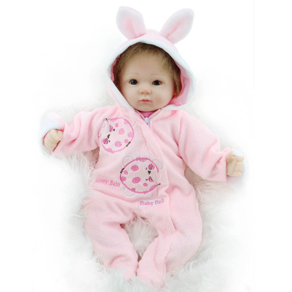Baby Girls Doll Toys 41CM Soft Silicone Doll Simulation of Regenerated Girl Dolls with Soft Cloth Body Infant Companion Toy