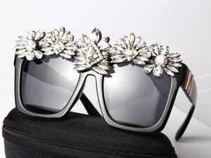 Image 4 - ที่กำหนดเองทำคริสตัลหรูหราแว่นกันแดดผู้หญิงB Ling R Hinestone O Versizeสแควร์แว่นกันแดดแบรนด์แว่นตาวินเทจสีสุภาพสตรี