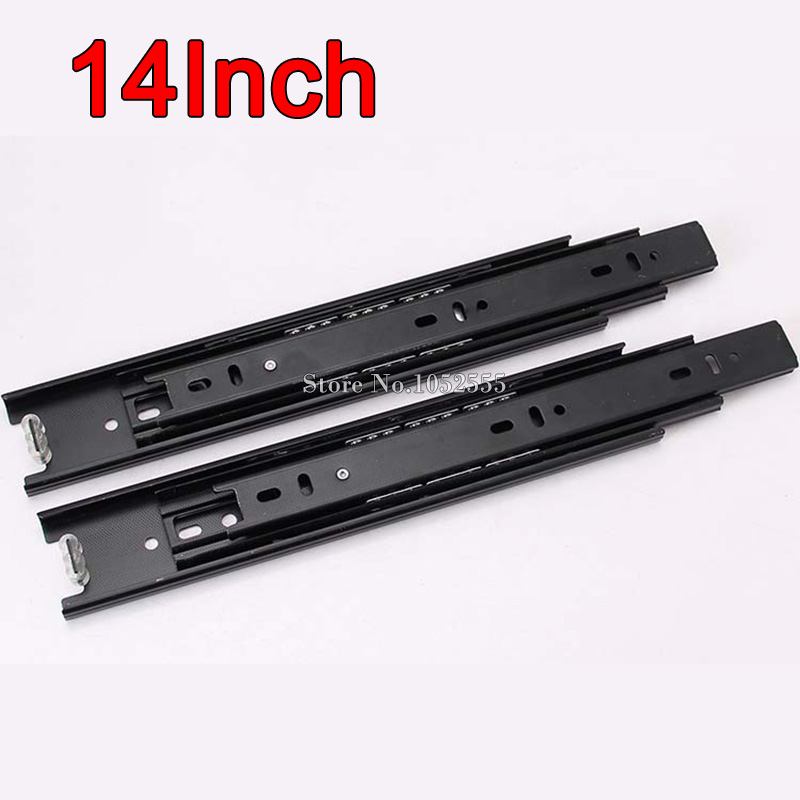 High Quality 32Pairs 14inch 3 Fold Telescopic Smoothly Drawer Runners Groove Ball Bearing Mute Slide Rails Home Hardware E178-4
