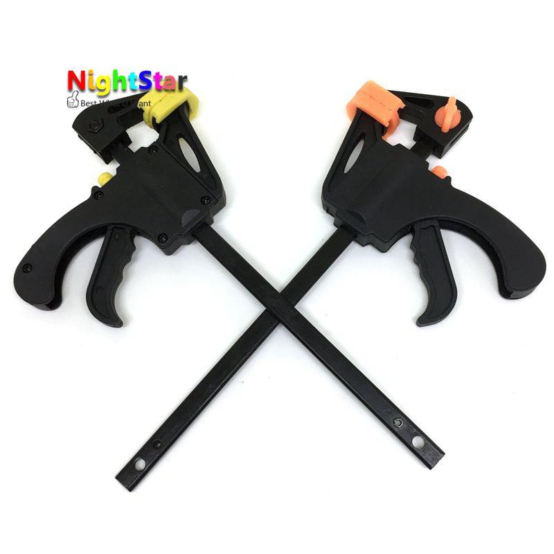 4 Quick Ratchet Release Speed Squeeze Wood Working Clamp Clip Kit Spreader Gadget Tool DIY Hand Work Bar /Random C quick g type clip g wood wood fixture fixture g fast clip 4 inch