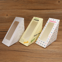 100pcs Beautiful Kraft Paper Sandwich Box Cheese Pastry DIY Baking Foods Packaging Gift Boxesretro Bakery Cake Bread Boxes