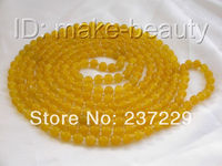 Wholesale price FREE SHIPPING AD Amazing long 100 8mm round yellow natural jade necklace