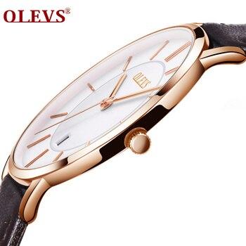 Hot Koop Mannen Sporthorloges OLEVS Luxe Merk mannen Quartz Analoge Display Datum Horloges Casual Lederen Swim Horloge dunne