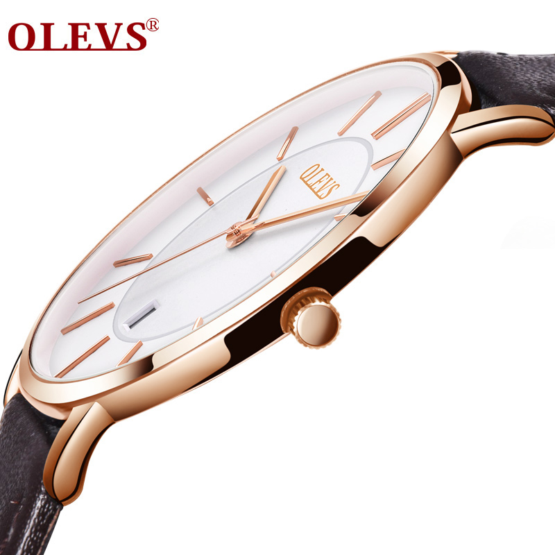 OLEVS Men Sports Watches Date Quartz Thin Hot-Sale Casual Genuine-Leather Luxury Brand title=