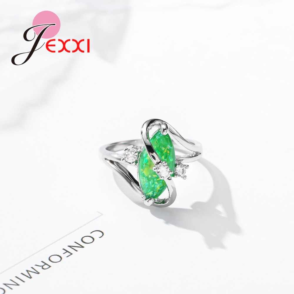 Original Irregular Claw Setting Oval Sparking CZ Stone Woman Girls Banquet Accessories Genuine 925 Sterling Silver Rings