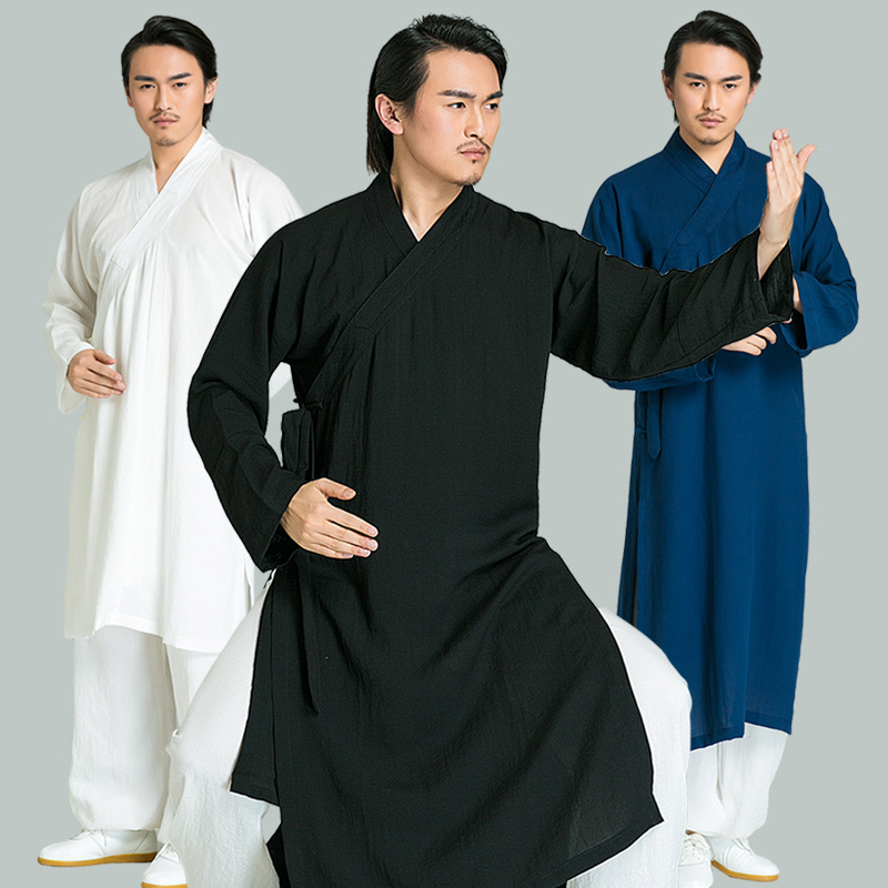 Line Chinese Men's Tai chi Clothing Robe Long sleeve Wudang Kung fu Clothing Tops Shaolin Monk Wushu Clothes Martial arts robe custom high grade white black tai chi uniform wudang taoist robe shaolin monk suit martial arts clothes wing chun wushu clothing