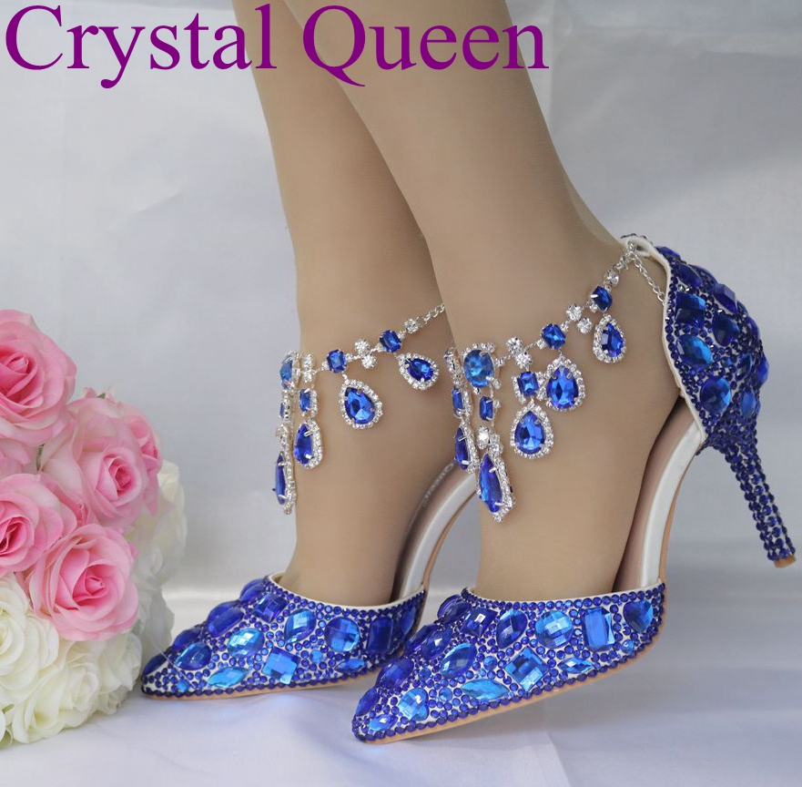 Us 49 31 26 Off Crystal Queen Blue Rhinestone Chain Sandals Women Pumps Thin High Heel Pointed Toe Sexy Shoes Wedding Party Luxurious Sandals In