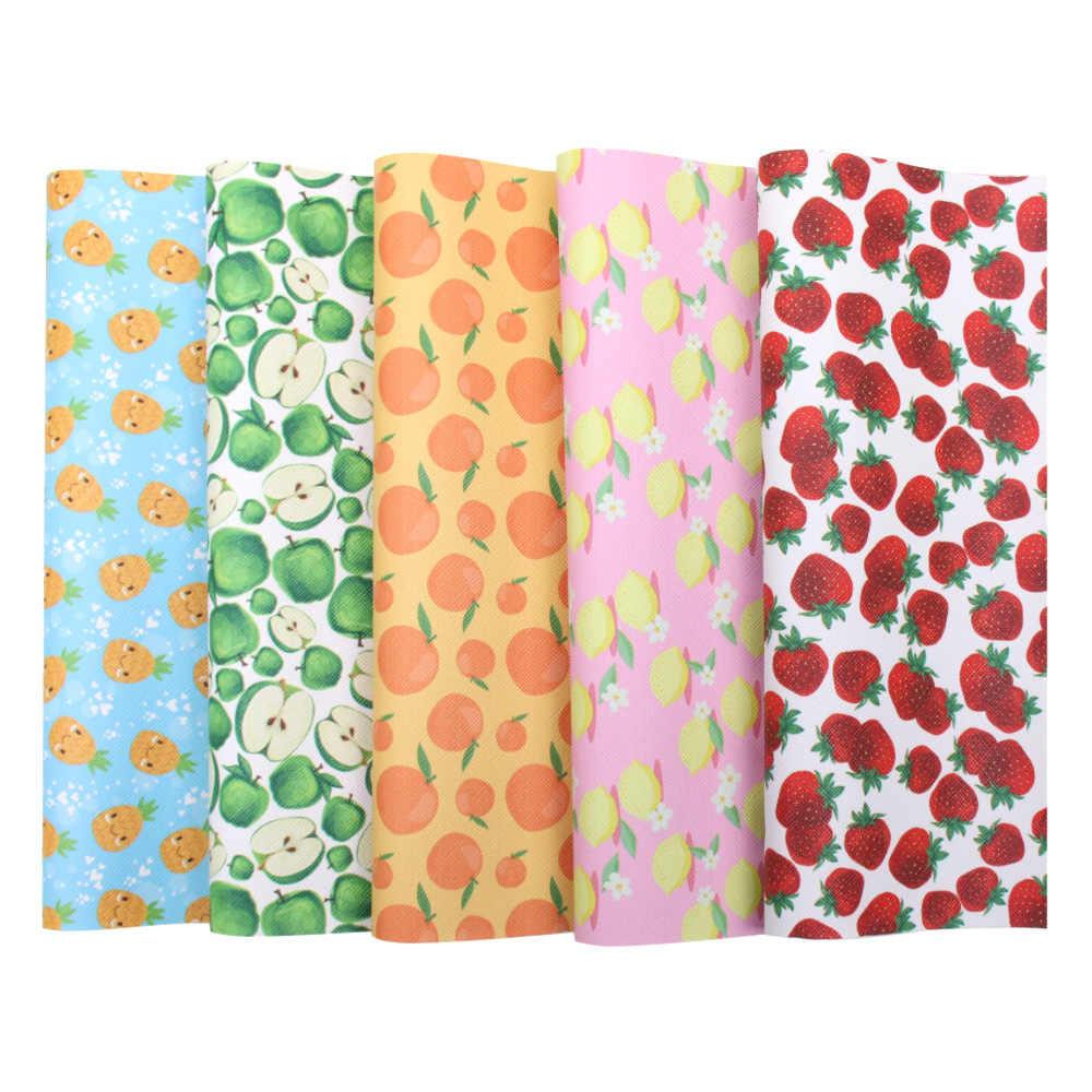 JOJO moños 22*30 cm tela de cuero sintético de imitación para artesanía de verano fruta impresa hoja para lazos de pelo DIY bolsa de costura Material de decoración