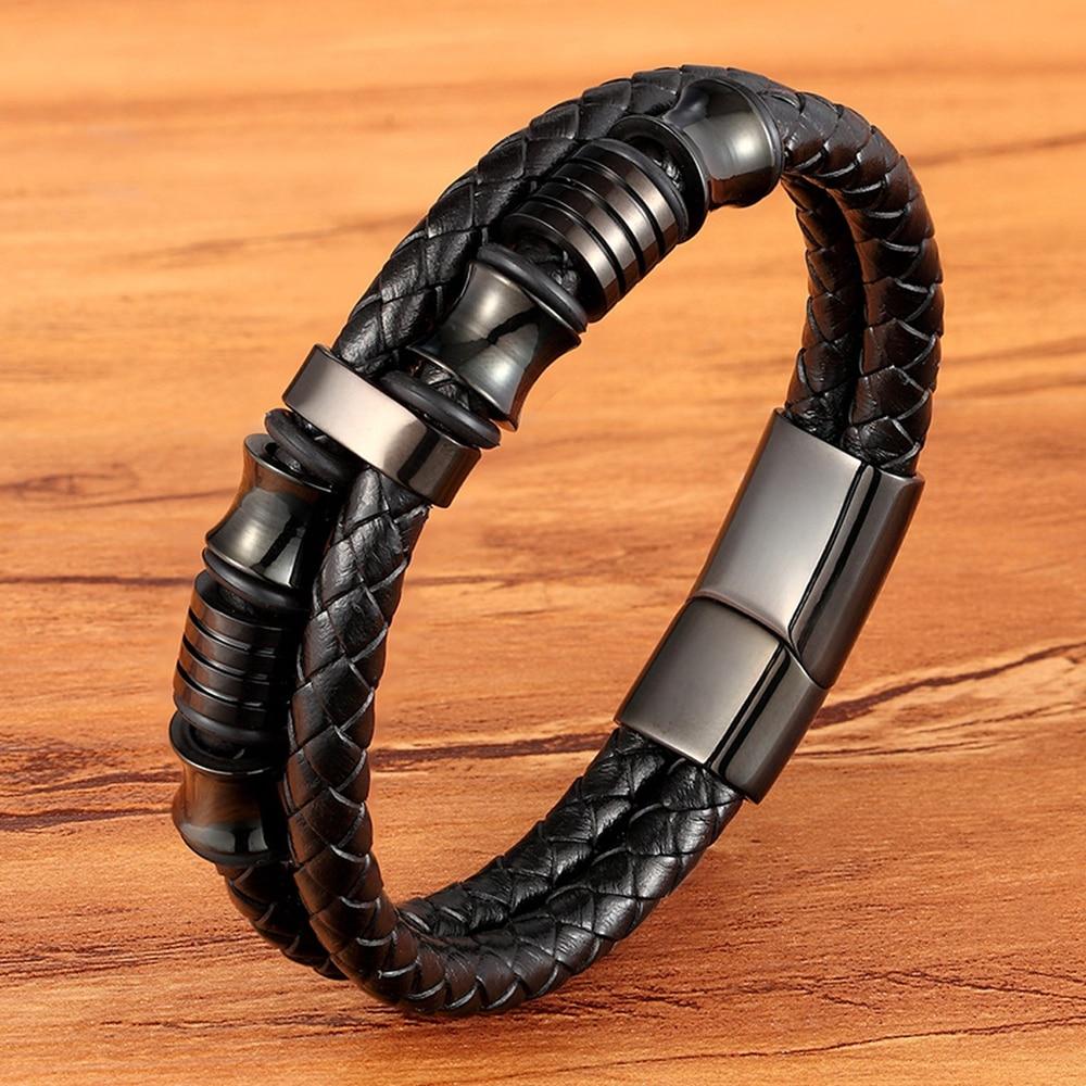 XQNI Personalized Accessories Bracelet Men's Fashion Gift Black Genuine Leather Bracelets DIY Combination Wild Handsome Gift