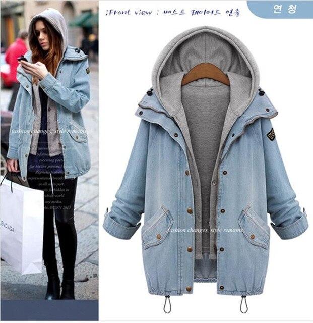 2016 Fashion Blue Hooded Drawstring Boyfriend Trends Jeans  parka Swish Pockets Two Piece Outerwear Women Buttons down Coat