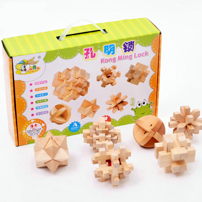 Free Shipping Ring Opening Kong Ming Lock 6PCS, Children's Wooden Assembly Blocks Toys, Adult Intelligence Classic Game
