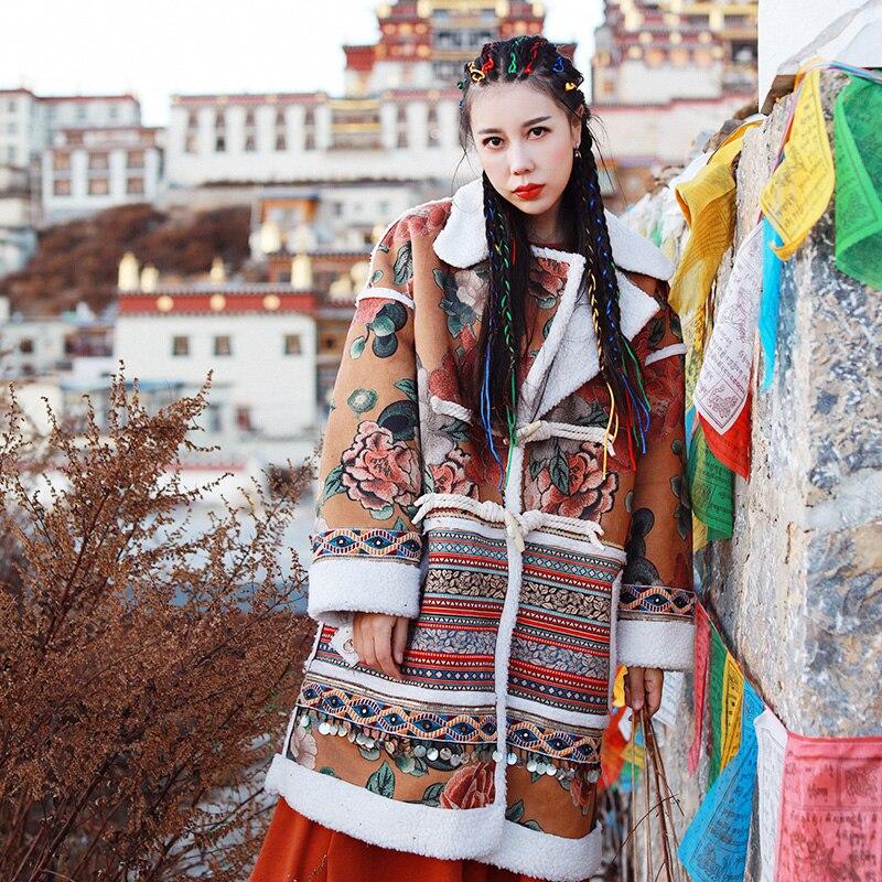LYNETTE'S CHINOISERIE 2016 tendance nationale à la main laciness décoration peau de daim vêtement d'extérieur en polaire femme veste courte design