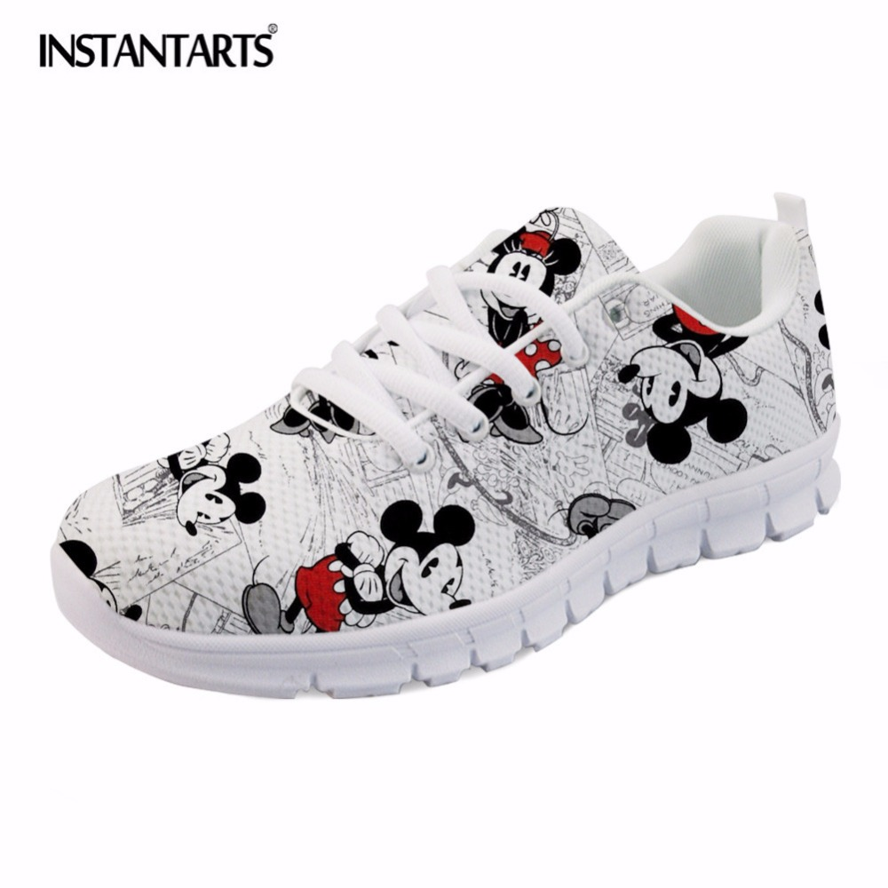 INSTANTARTS Cute Cartoon Mouse Print Women Flat Shoes Breathable Lace Up Sneakers Girls Ladies Fashion Mesh Light Flats Zapatos instantarts women flats emoji face smile pattern summer air mesh beach flat shoes for youth girls mujer casual light sneakers