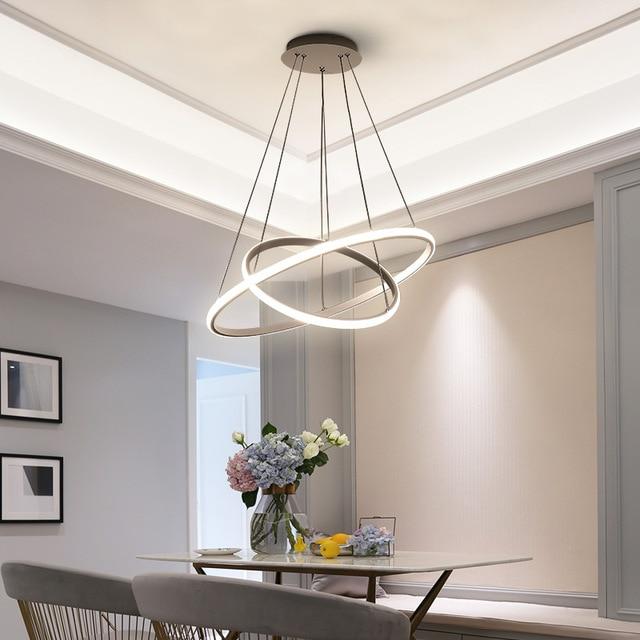 Wit/Koffie LED hanglampen voor woonkamer foyer Cirkel Ringen acryl aluminium body LED huis Lamp armaturen AC85-260V dero