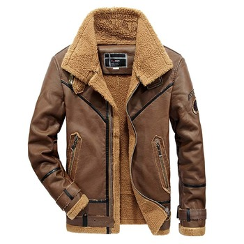 Winter Mens PU Leather Jackets Solid Thick Motorcycle Leather Jackets Thermal Fleece Faux Leather Coat Men Blouson Cuir Homme