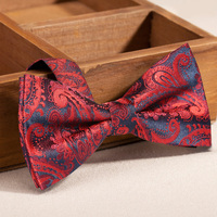 High Quality 2017 Brand New Bow Tie for Men Formal Butterfly Tie Gravata Mens Bowtie Red Paisley Man Silk Bow Ties With Gift Box