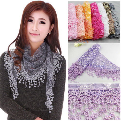 Hirigin Women Lace Sheer Metallic Floral Print Triangle Mantilla   Scarf   Shawl   Wrap   Tassel